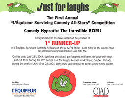 Just for Laughs Certificate