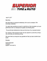 Superior Tire Reference Letter