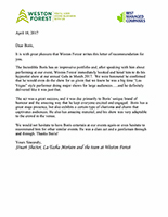 Weston Forest Reference Letter